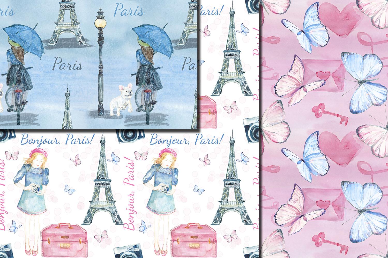 Watercolor Bonjour Paris seamless digital paper pack example image 3