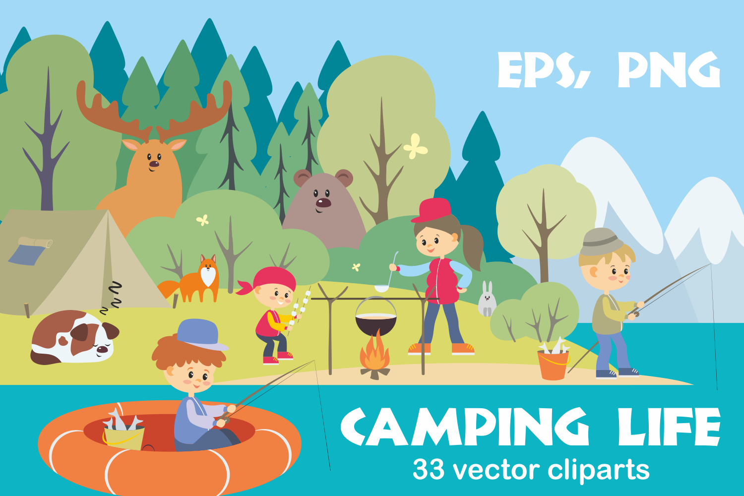 Camping life. Vector cliparts. example image 1