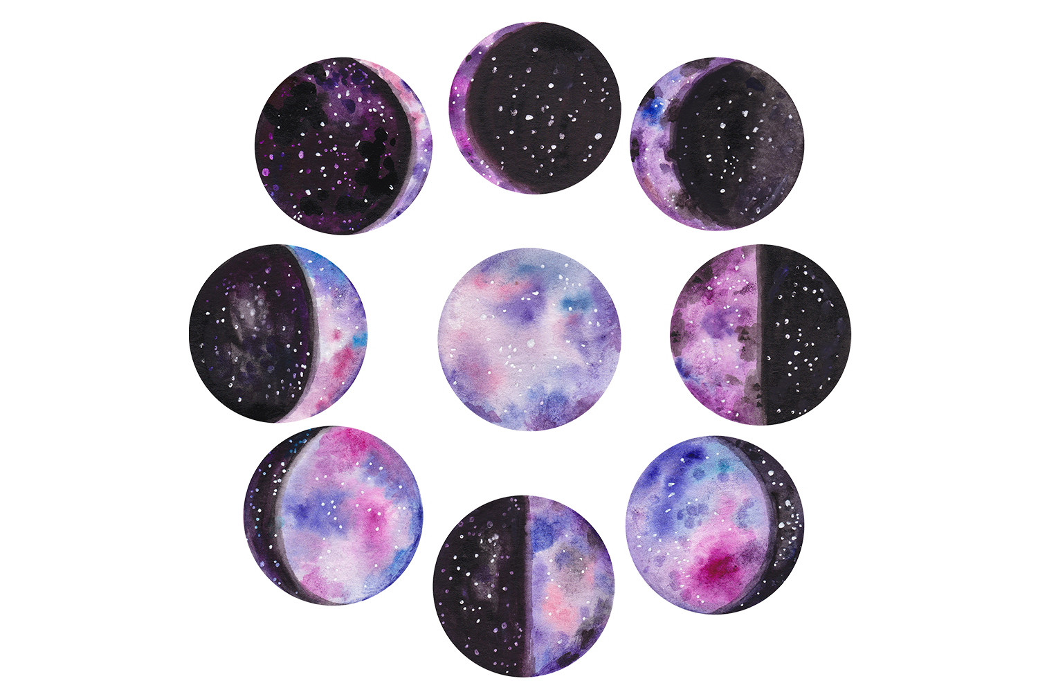 Watercolor moon phases example image 1