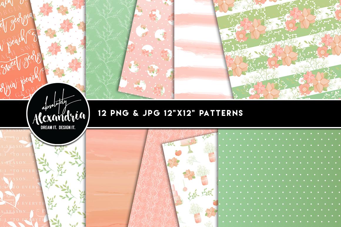 Sweet Georgia Peach Clipart Graphics & Digital Paper Patterns Bundle example image 2