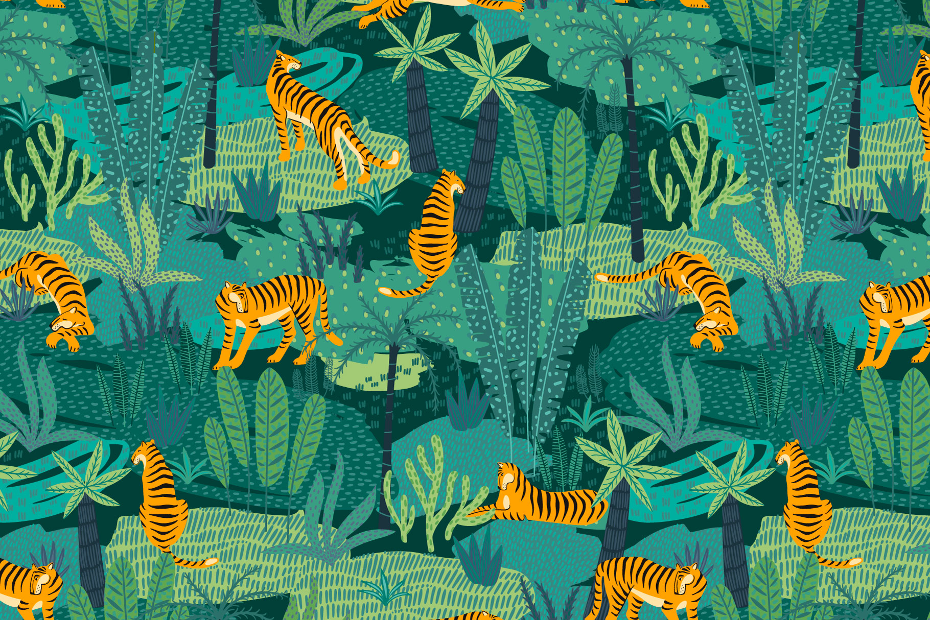 Tiger collection. Patterns & clipart example image 7