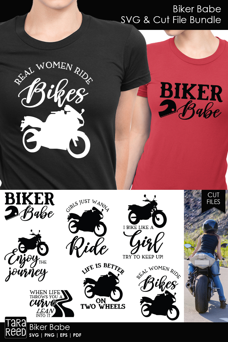 Biker Babe - Motorcycle SVG and Cut Files for Crafters example image 3