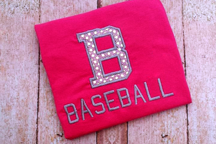 B for Baseball Applique Embroidery Design example image 2