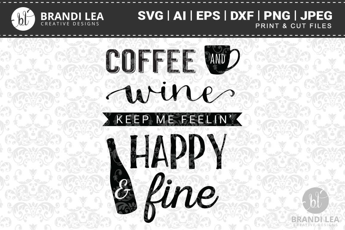 Coffee & Wine SVG Cutting Files example image 1