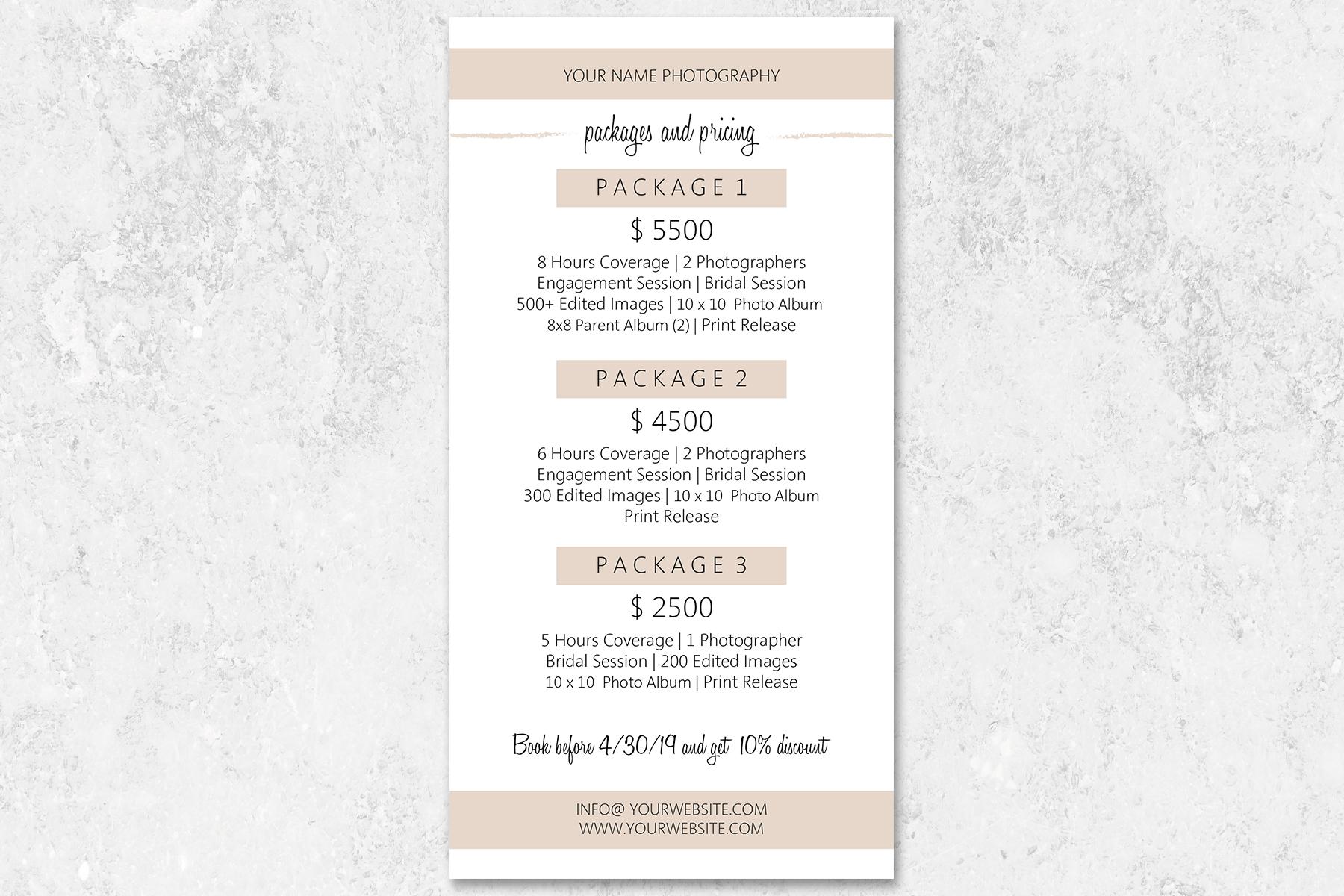 Wedding Photography Rack Card Template example image 4