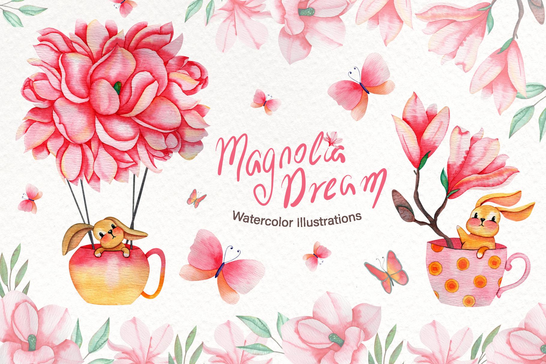 Magnolia Dream - Watercolor Illustrations example image 1