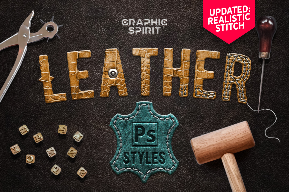 Leather Layer Styles For Photoshop example image 1