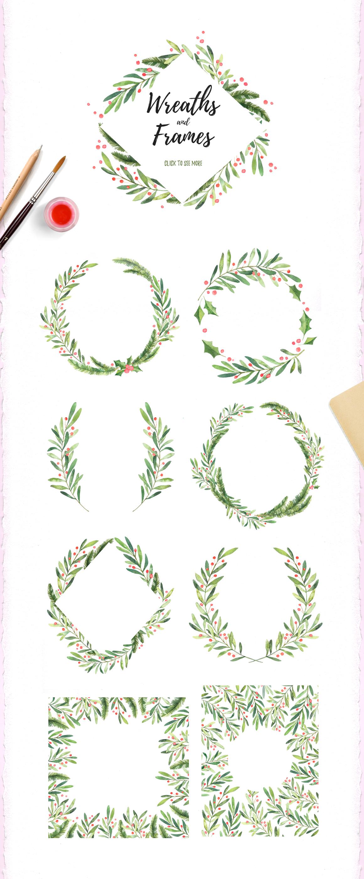 Christmas watercolor set example image 2