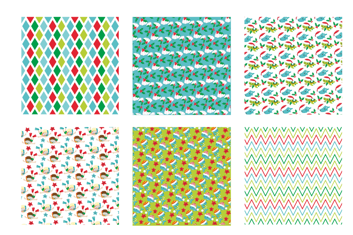 Christmas Underwater Pattern collection, vector ai, example image 3