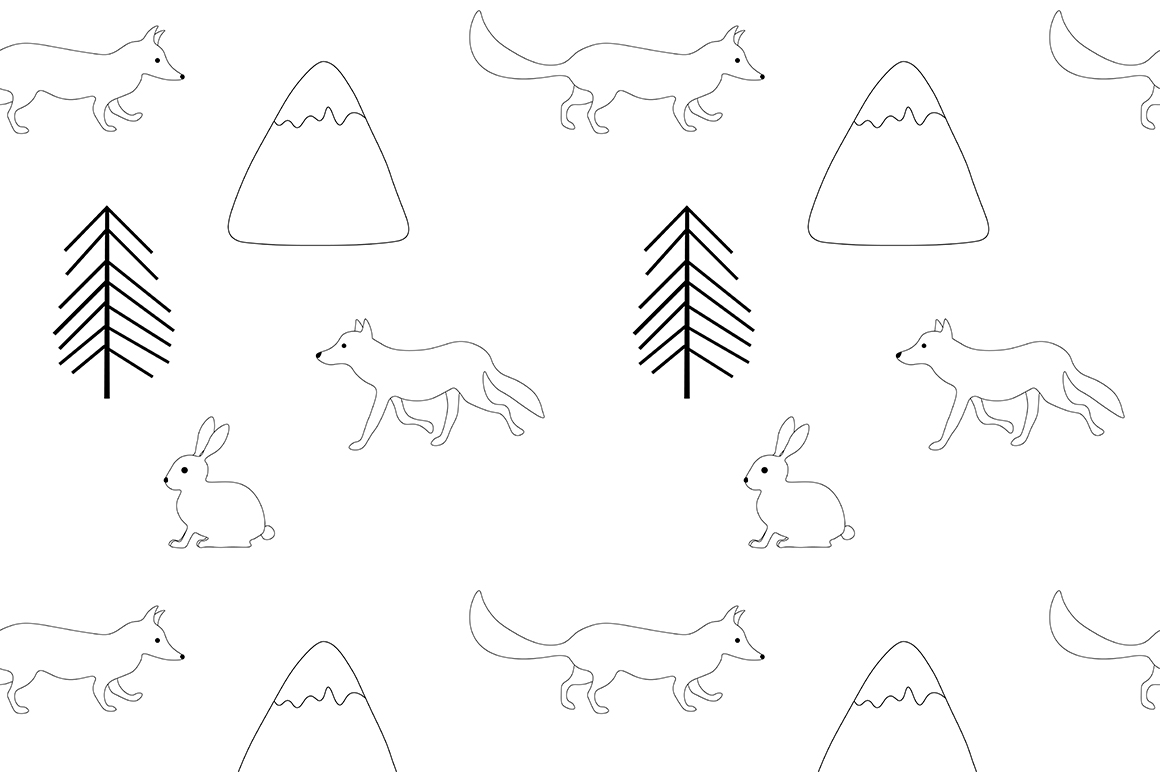 Set of illustrations Animals forest graphics vector example image 4