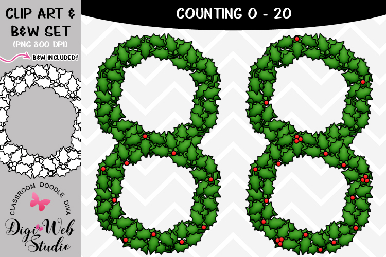 Clip Art / Illustrations - 0-20 Counting Holly Berries example image 1