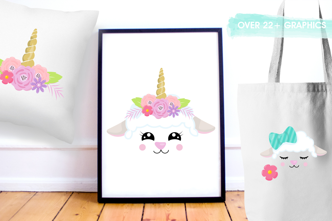 Kawaii Spring Lambs graphic and illustrations example image 5