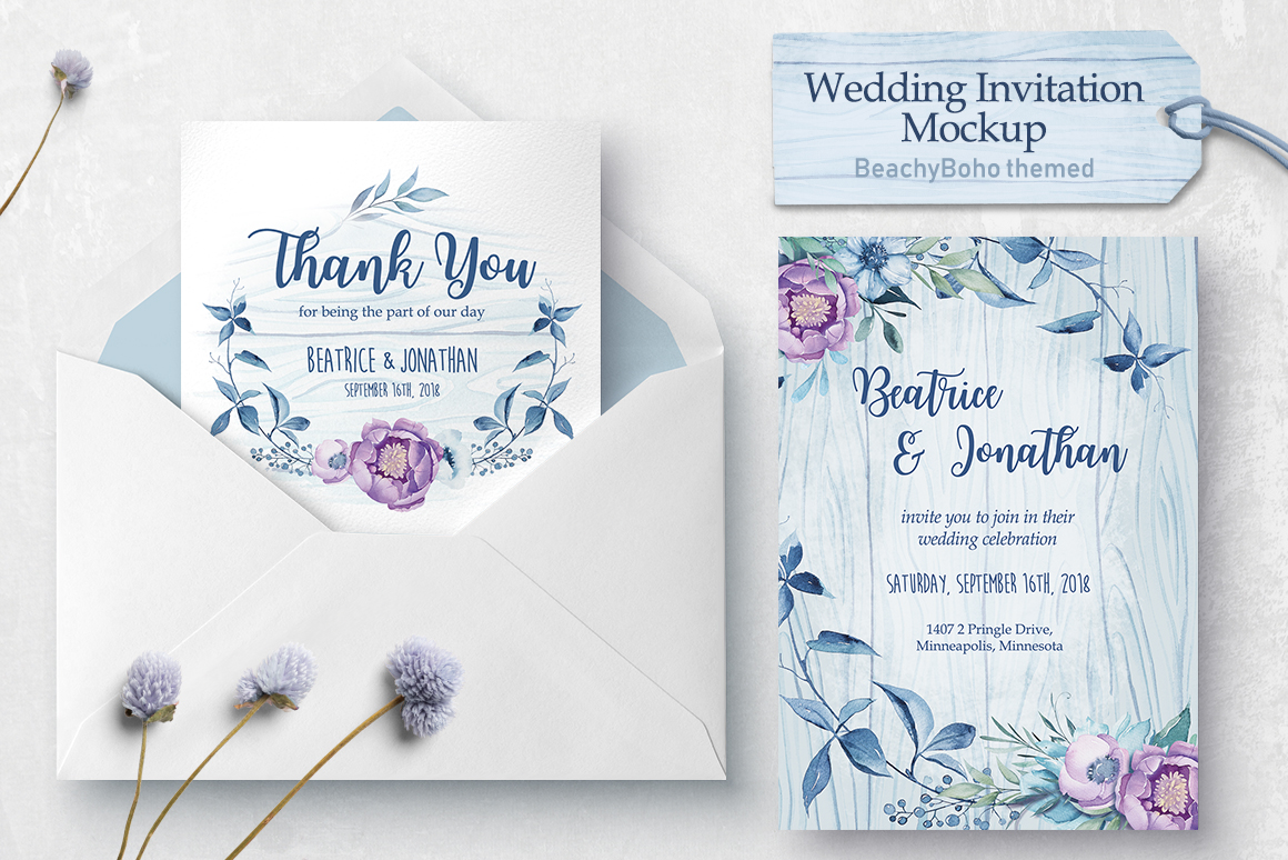 Wedding invitation - BeachyBoho example image 2
