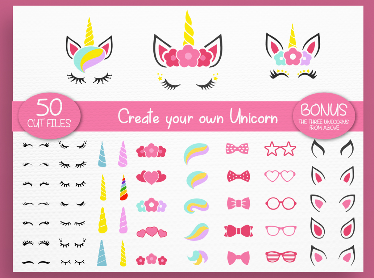 Unicorn svg - Unicorn Kit Svg - Create your own - Cut files example image 1