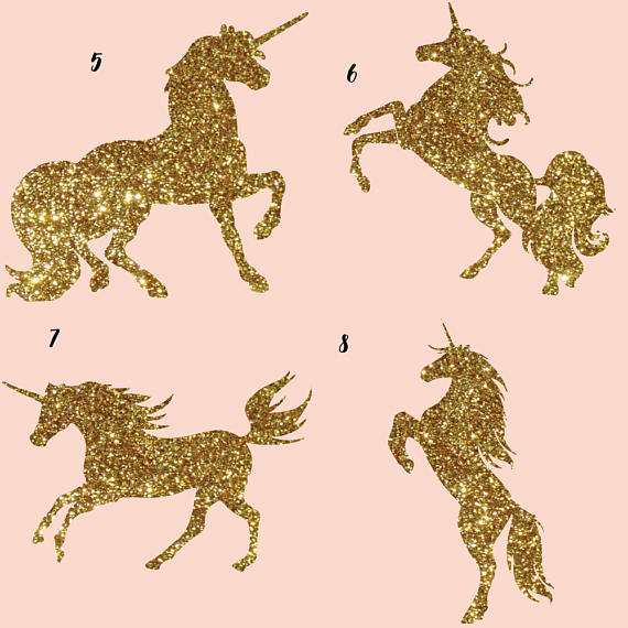 Gold glitter and Galaxy Unicorns Clipart example image 3