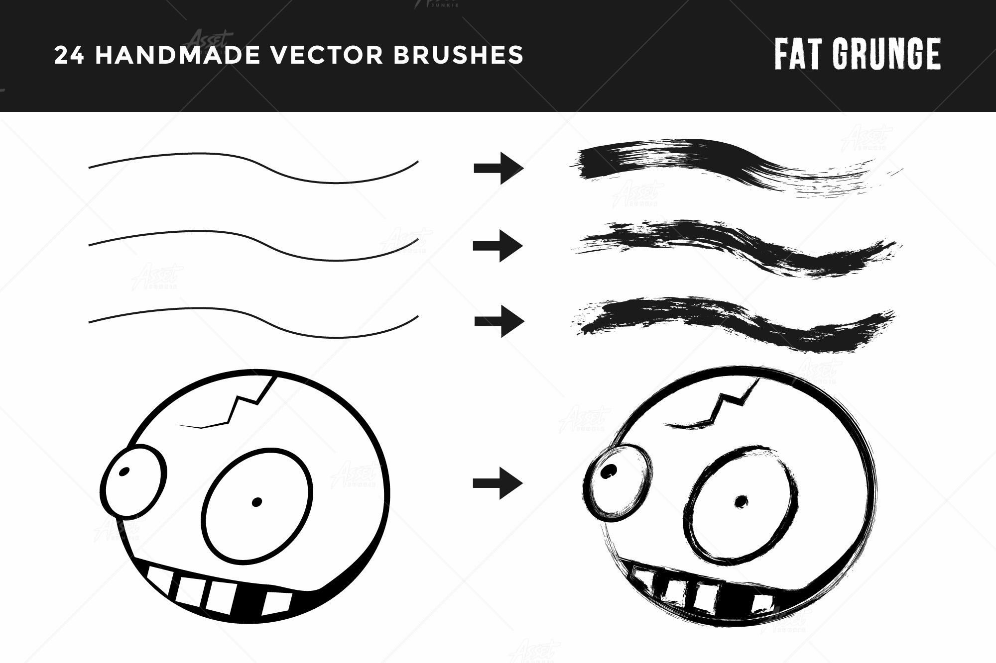 Fat Grunge – Illustrator Brush Pack example image 3