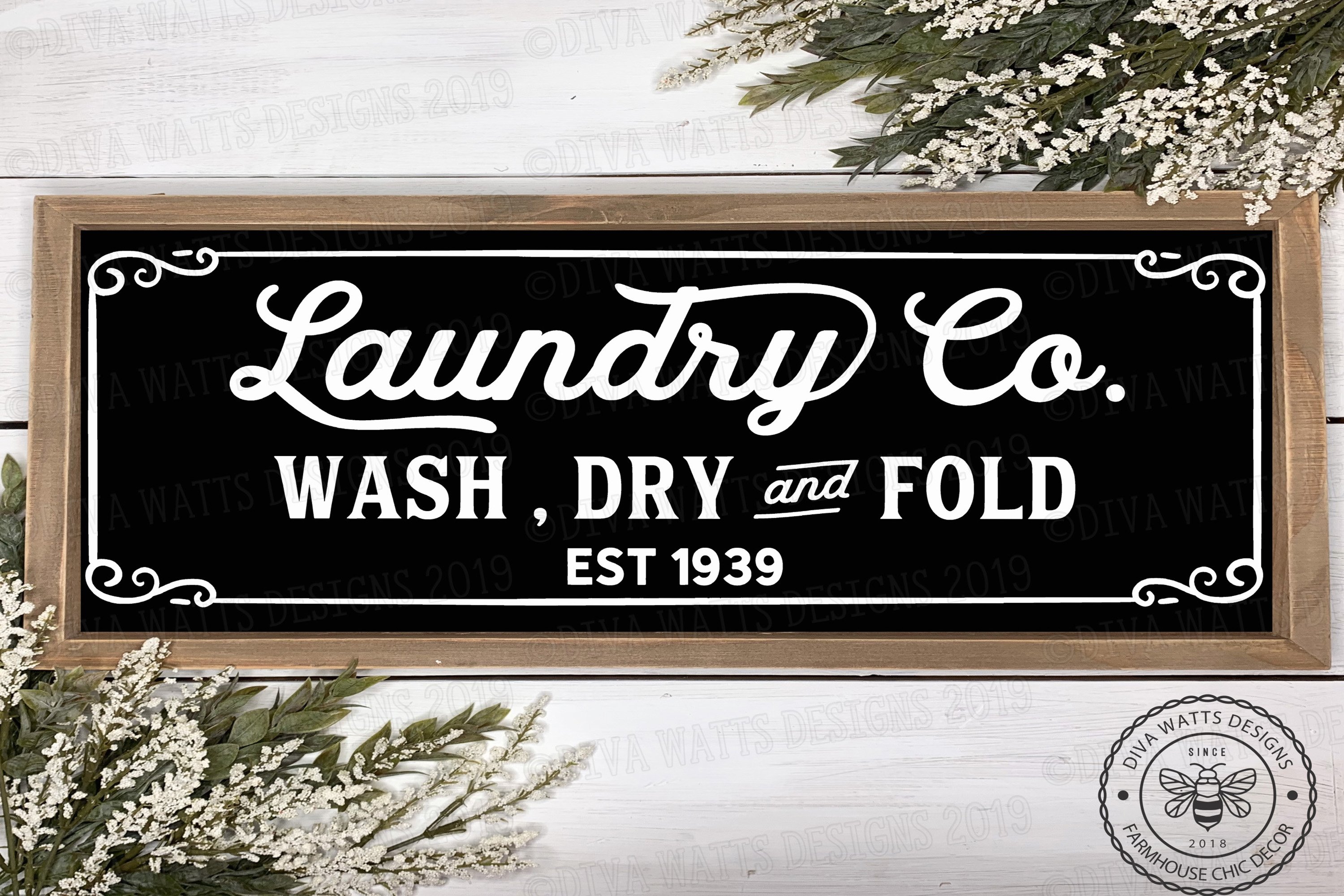 Laundry Room Sign Farmhouse Fixer Upper Style Cutting File example image 1