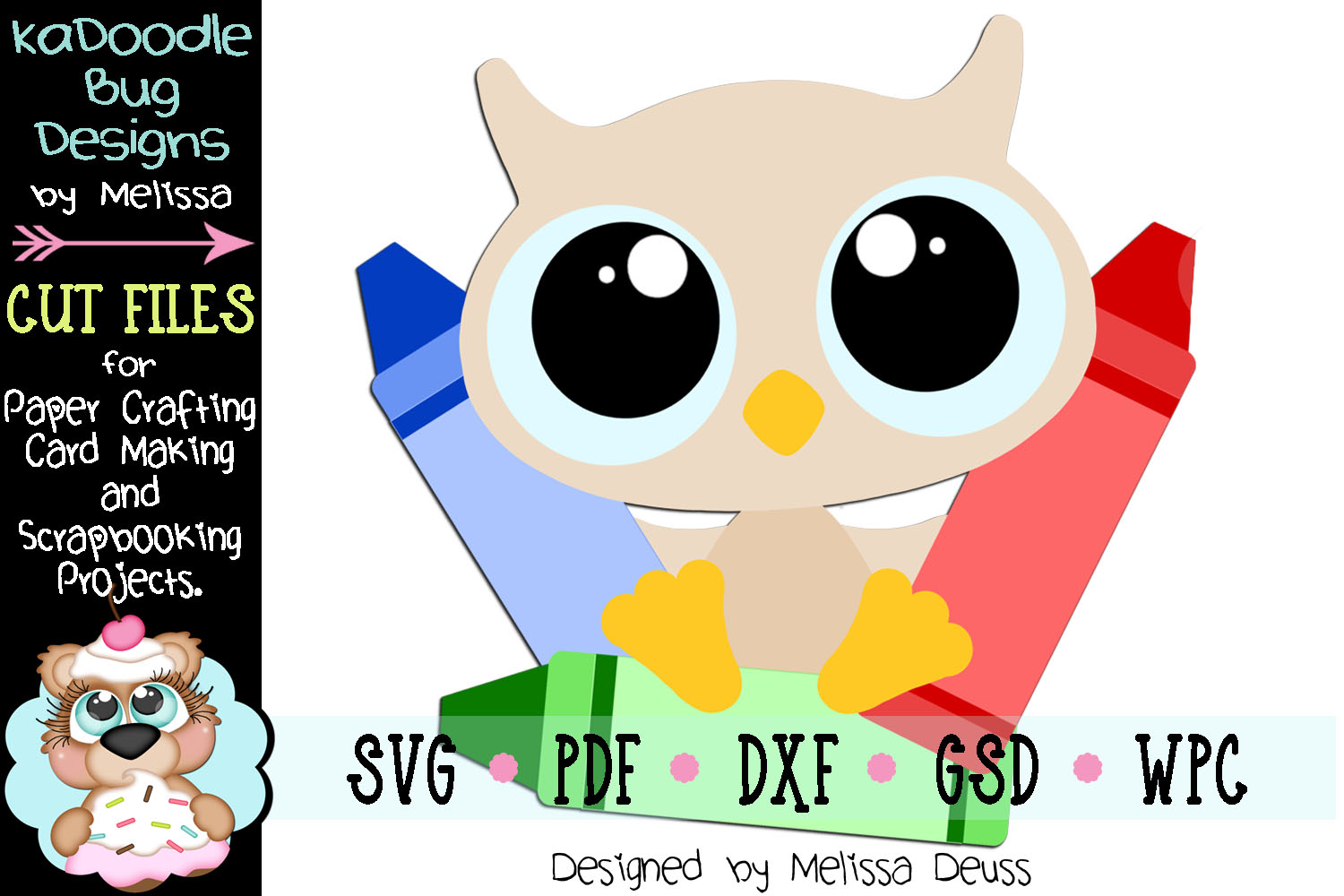Coloring Baby Owl Cut File - SVG PDF DXF GSD WPC example image 1