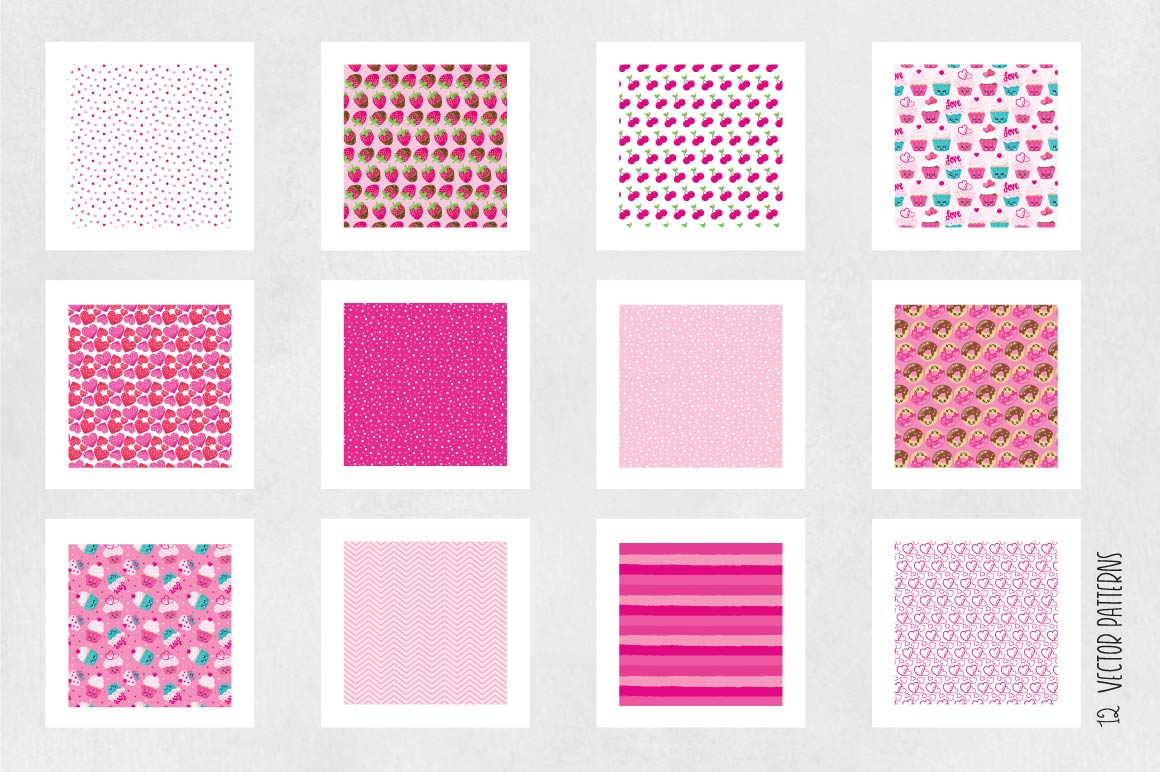 KAWAII-VALENTINE , digital papers example image 5
