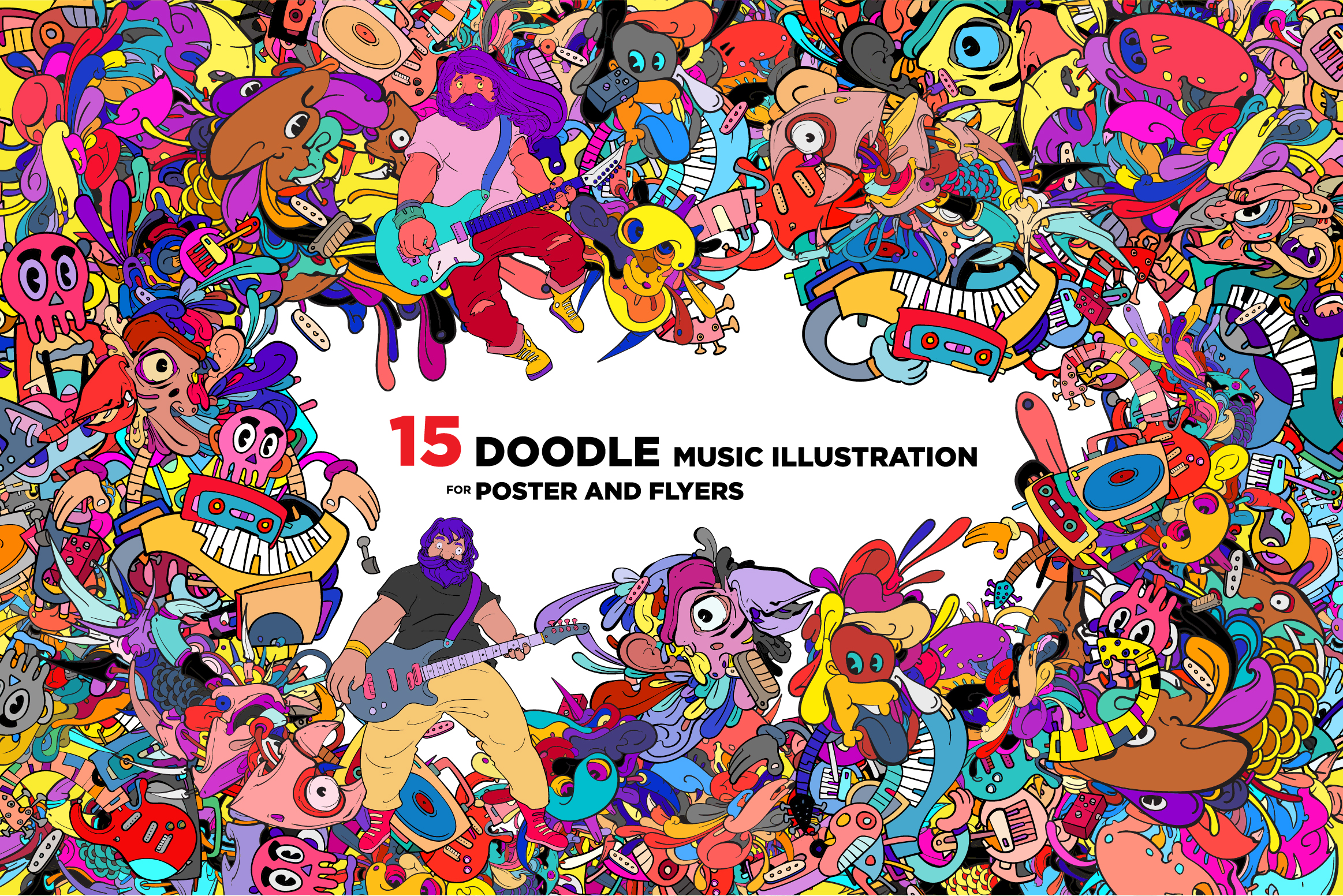 15 Doodle Music Illustration for World Music Day example image 1