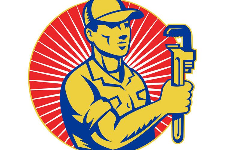 Plumber holding monkey wrench retro example image 1