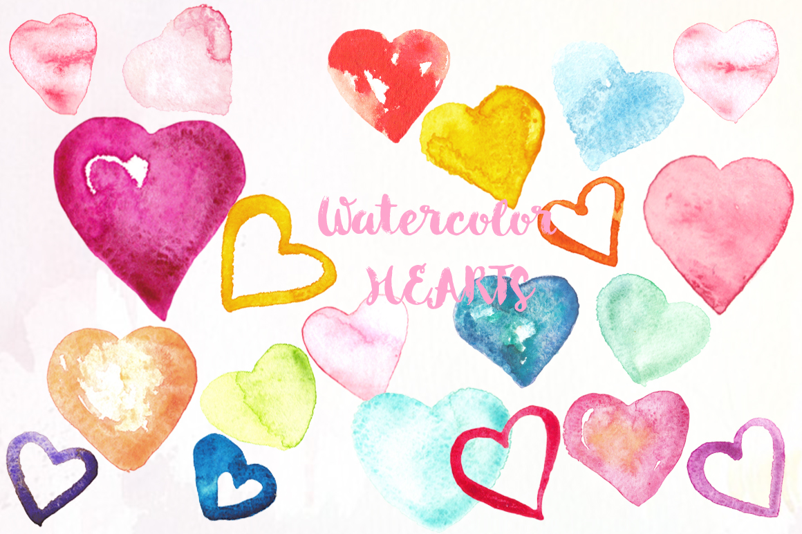 Valentine Hearts watercolor clipart example image 2