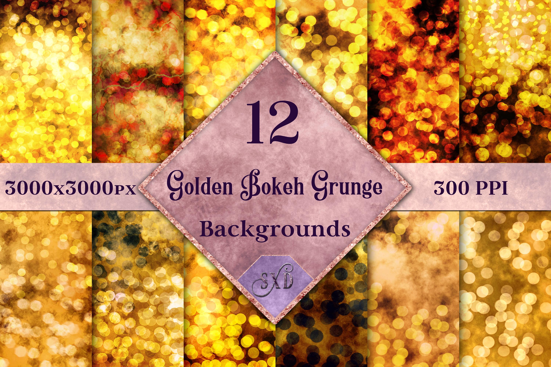 Golden Bokeh Grunge Backgrounds - 12 Image Textures Set example image 1