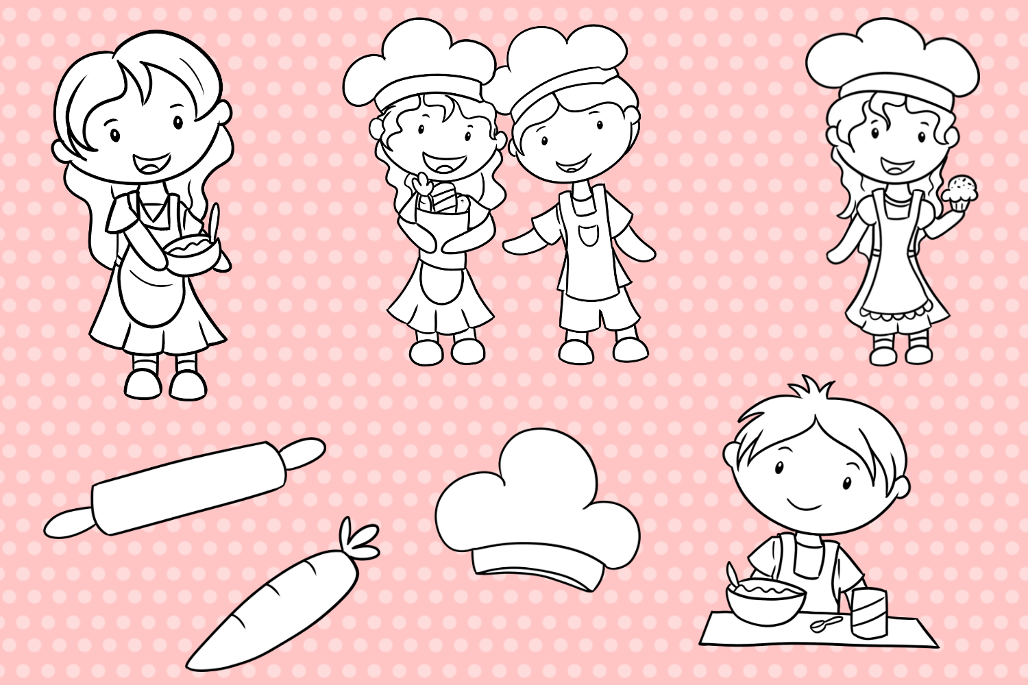 Cute Kids Cooking Digital Stamps example image 3
