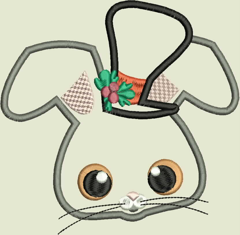 Christmas Critter Mouse With Top Hat Machine Applique Design example image 2