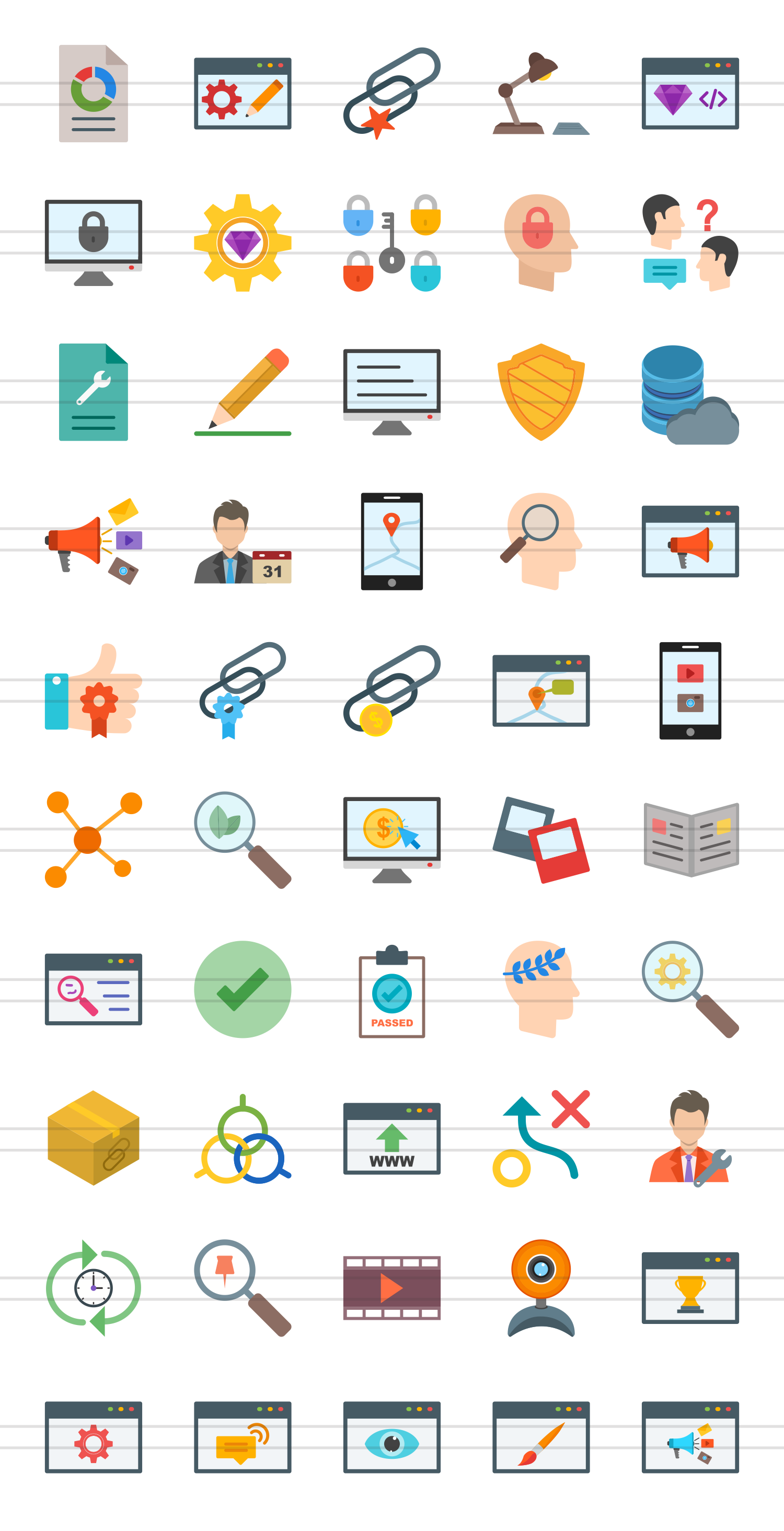 50 IT Services Flat Multicolor Icons example image 2