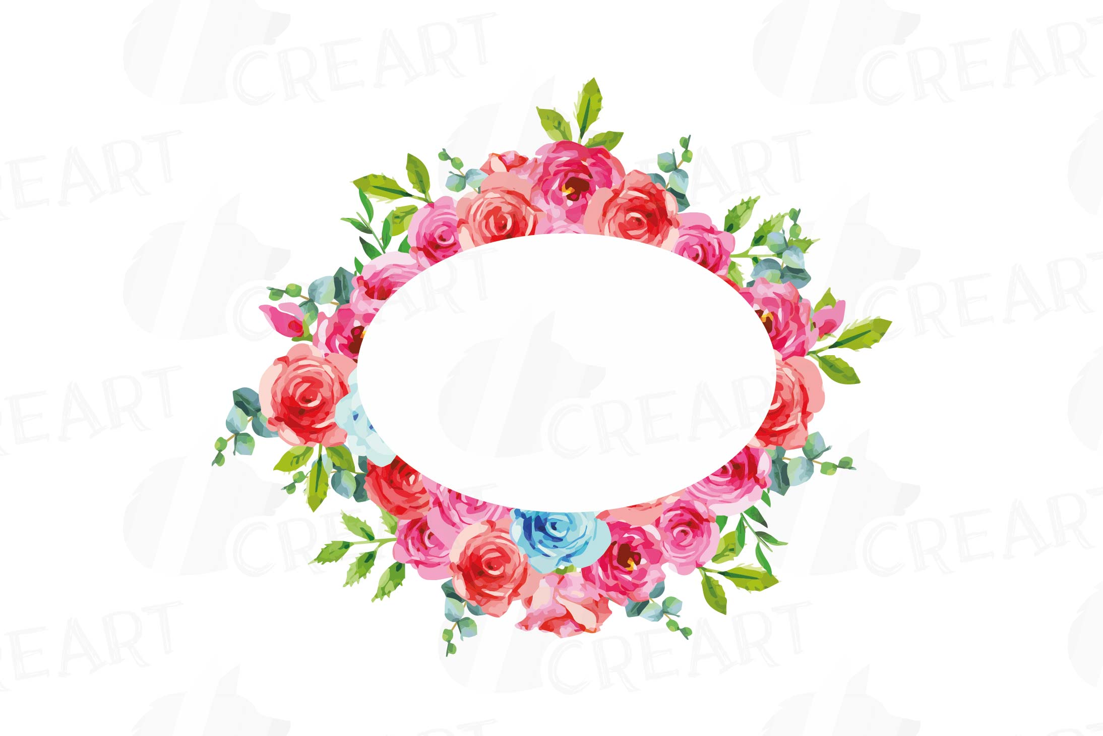 Boho pink and blue floral frames watercolor clip art pack example image 6
