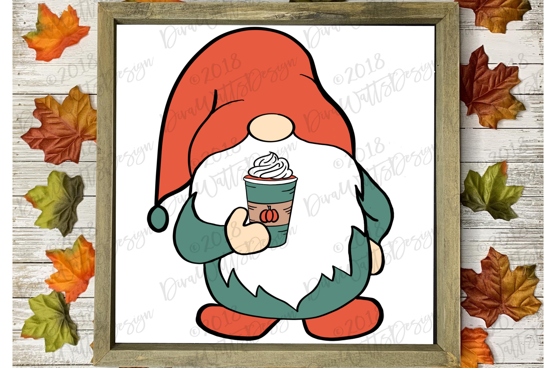 Farmhouse Pumpkin Spice Latte Gnome Fall Autumn Cutting File example image 1