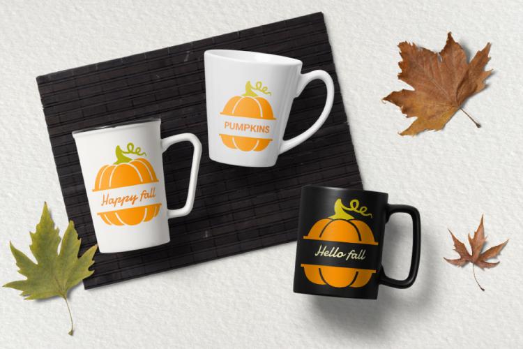 Pumpkin monogram. Thanksgiving digital clipart example image 3