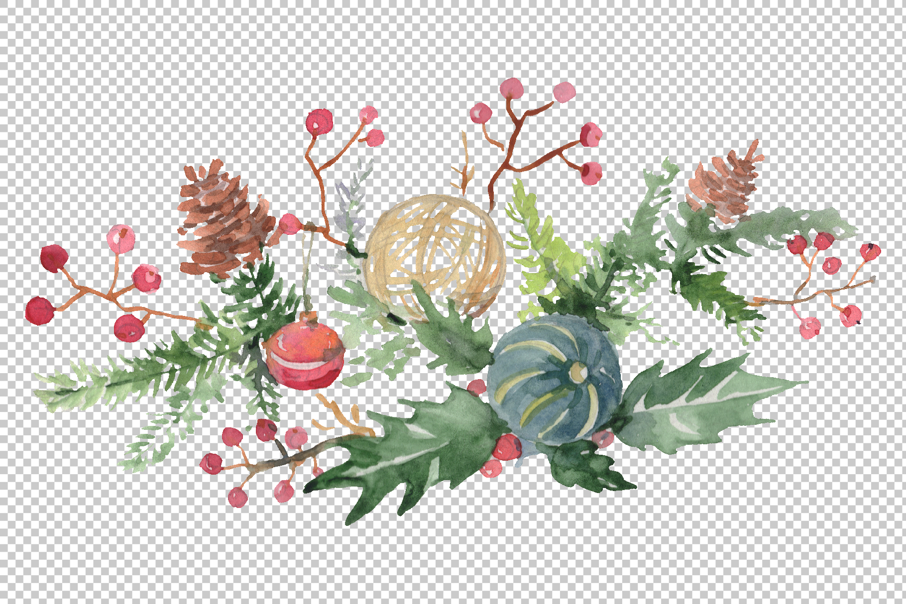 Christmas bouquet warmth of the soul Watercolor png example image 3
