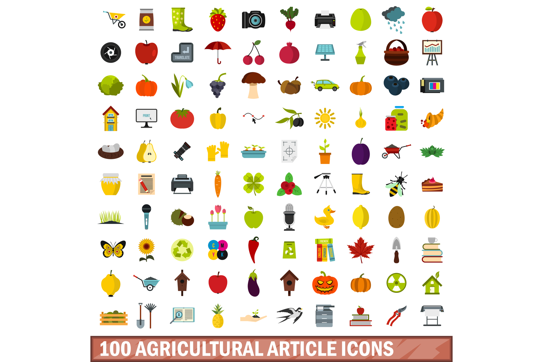 100 agricultural article icons set, flat style example image 1