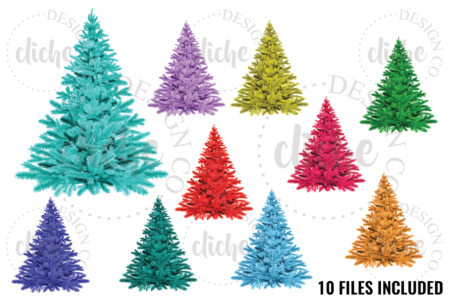 Colorful Christmas Tree Sublimation Design Elements example image 1