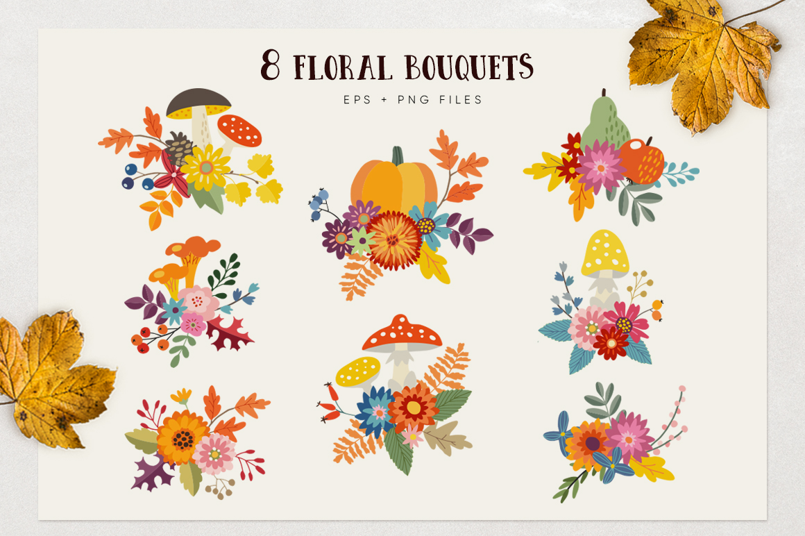Autumn flowers graphic collection example image 4