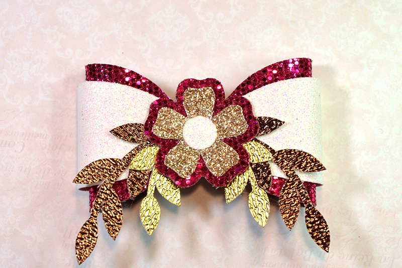 6 Hair bow template SVG, Flower faux leather bow template example image 2