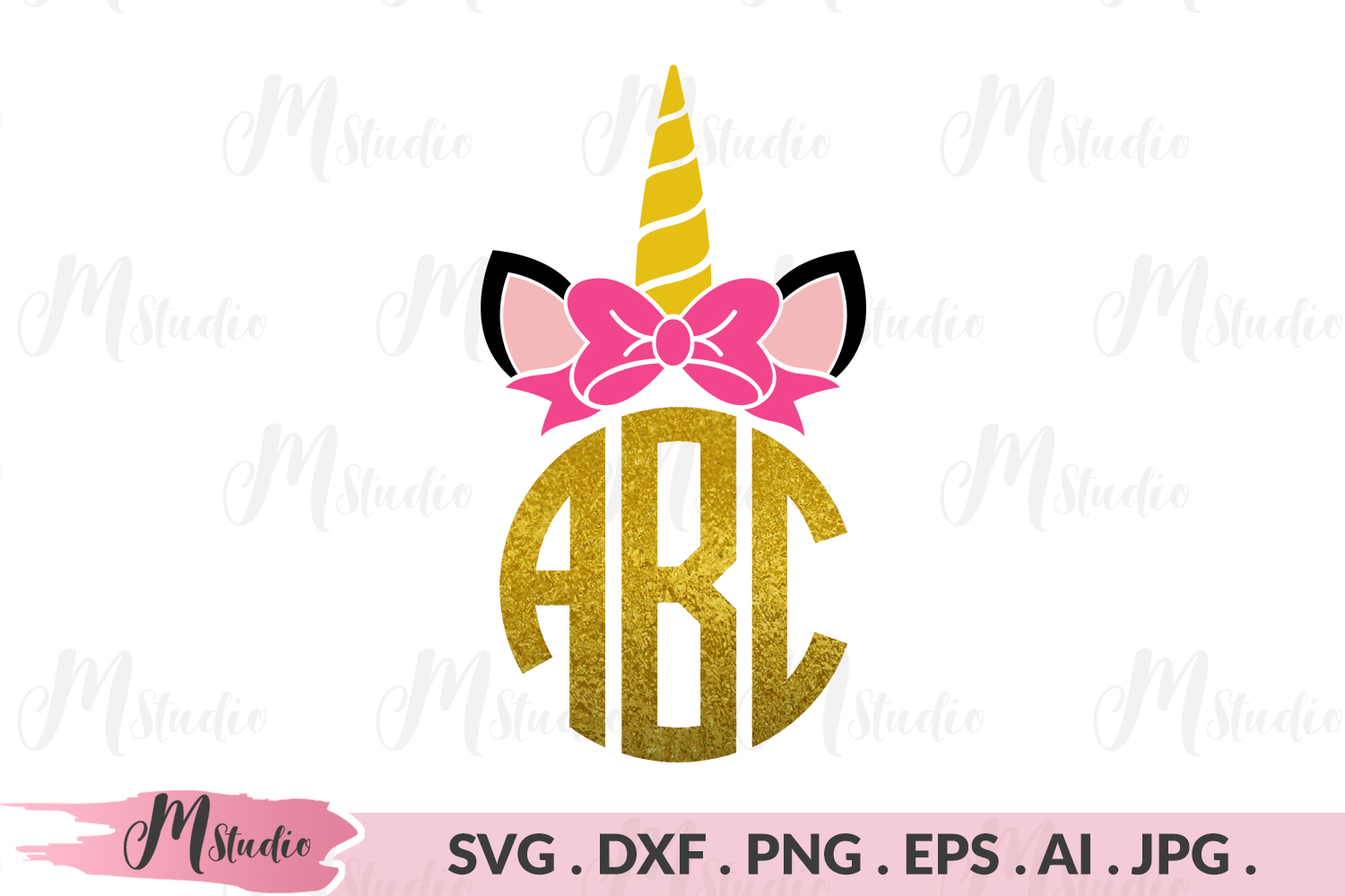 Unicorn monogram svg example image 1