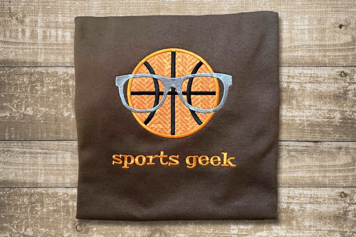 Basketball Sports Geek Applique Embroidery Design example image 1