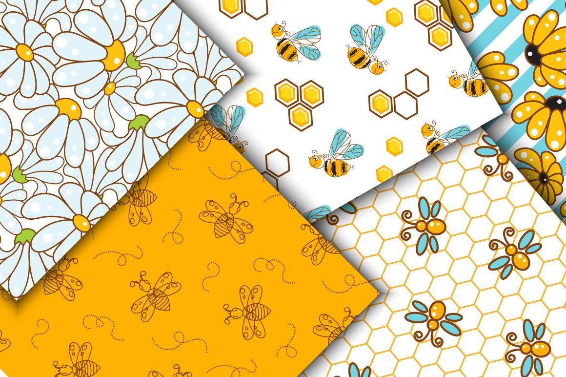 Honey Bee Seamless Patterns example image 3