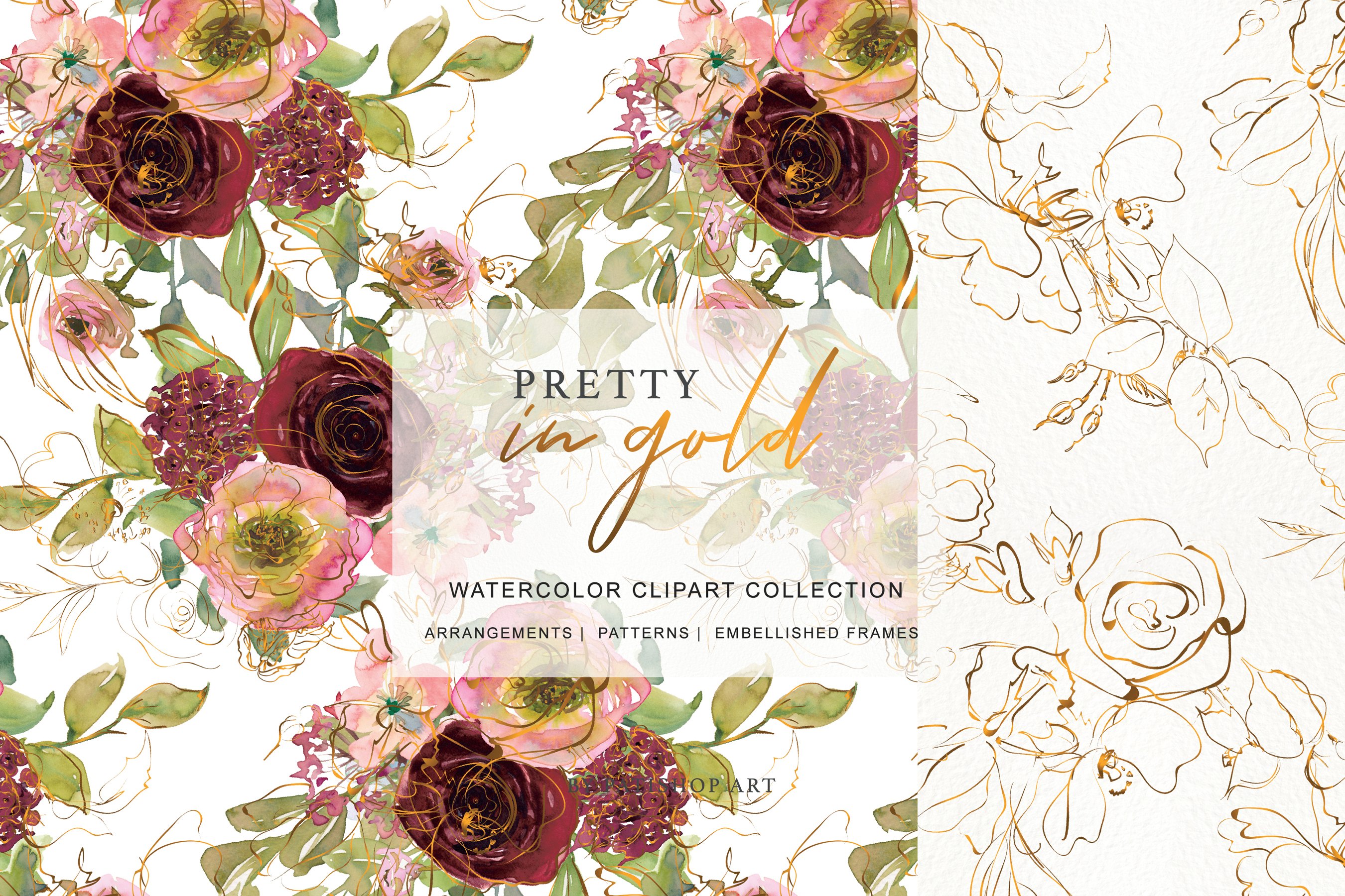 Watercolor Burgundy Blush and Gold Floral Bouquet Clipart example image 4