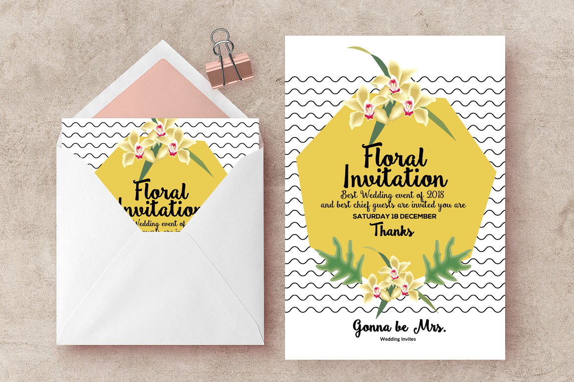 Wedding Floral Invites Flyer example image 1