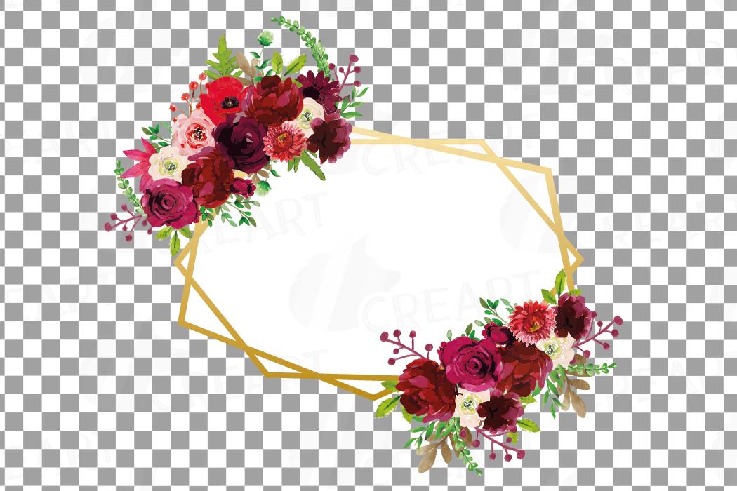 f5f42c6af88 Watercolor Burgundy Floral Geometric Frame