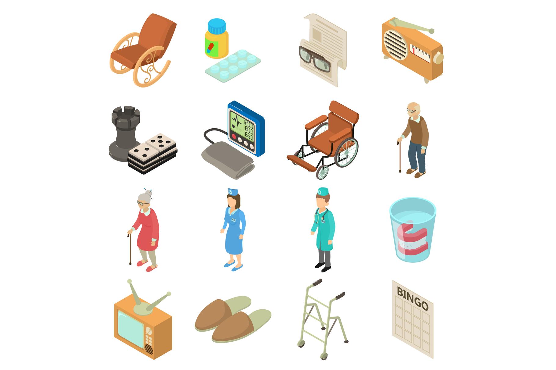 Nursing home icons set, isometric style example image 1