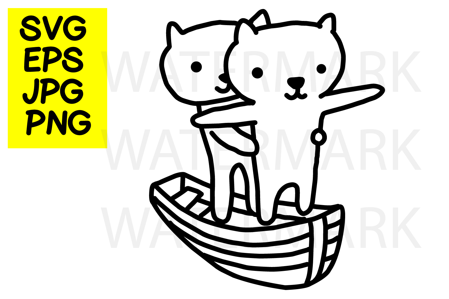 Cat couple in love-SVG-EPS-JPG-PNG example image 1
