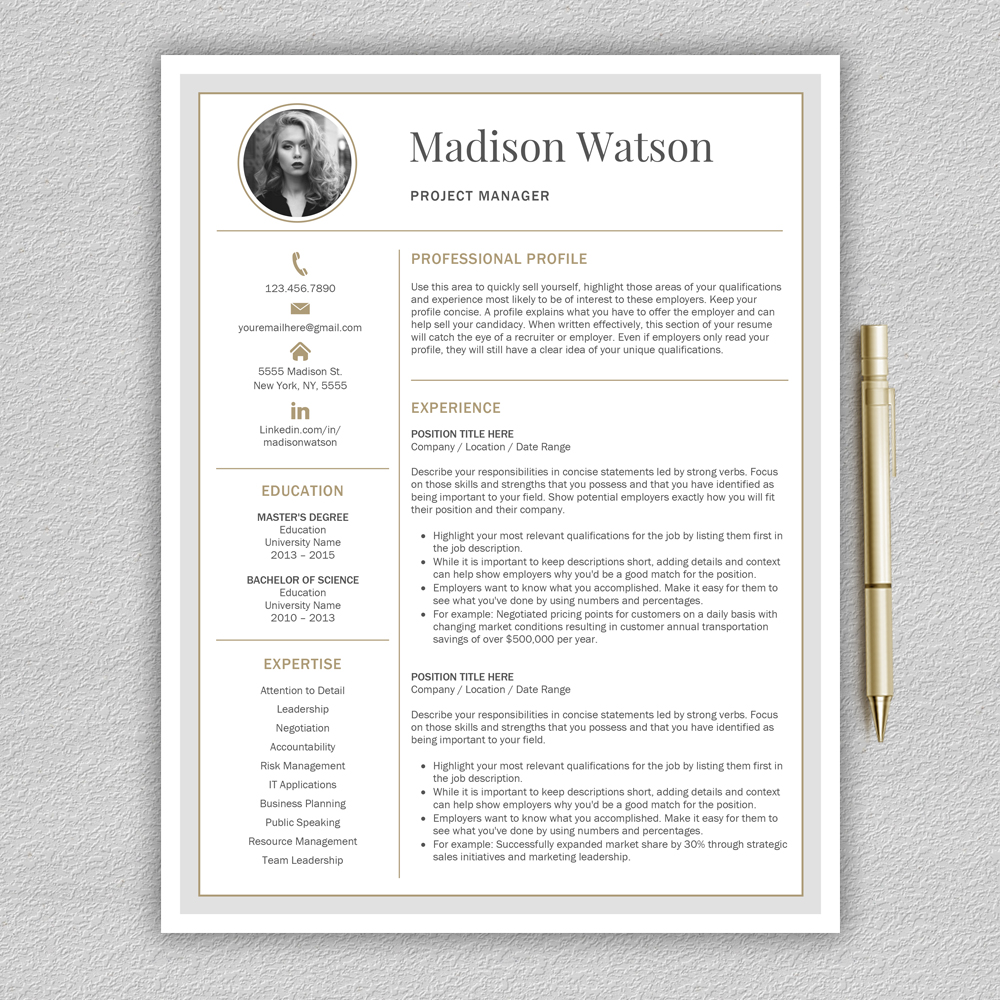 Professional Resume Template / CV Template / Resume for Word with Cover Letter example image 3