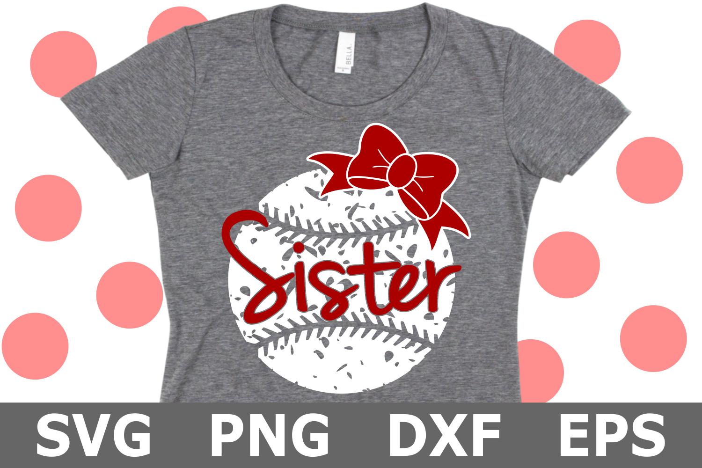 Grunge Baseball Sister - A Sports SVG Cut File example image 1