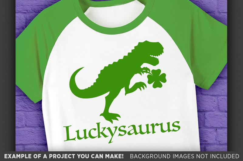 Dinosaur Svg File - Luckysaurus St. Patricks Day - 1066 example image 3