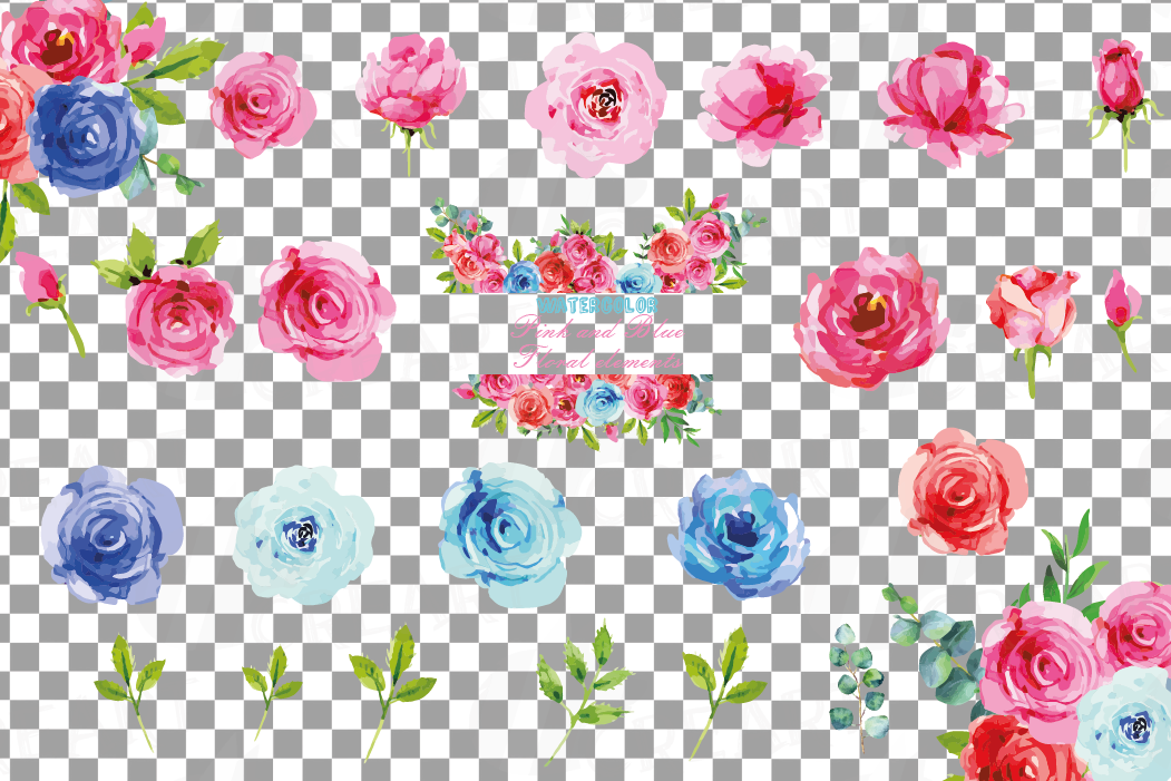 Watercolor Pink and Blue Roses and leafs clip art pack, png example image 2